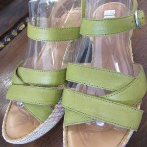 Green Leather BORN Wedge Sandals Size 11
